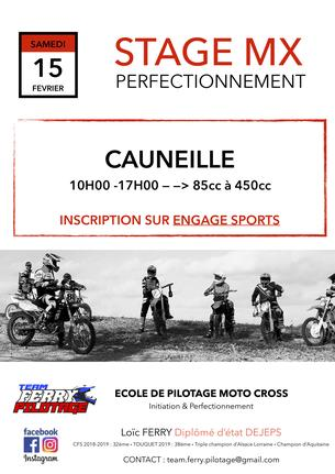 Affiche Stage de perfectionnement MOTO CROSS à CAUNEILLE (40) - 15 February