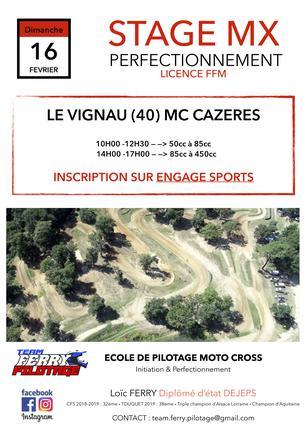 Affiche Stage de perfectionnement MOTO CROSS au MC CAZERES à LE VIGNAU (40) - 16 February