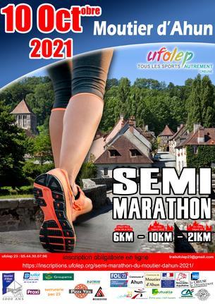 Affiche semi marathon du moutier d'ahun - 10 October
