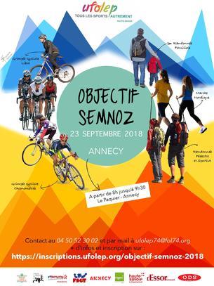 Affiche Objectif Semnoz : Grimpée cyclochronométrée - Grimpée cyclo libre - Marche nordique - 23 September 2018