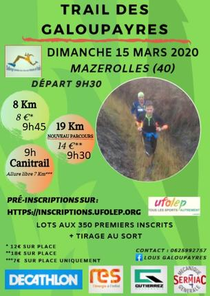 Affiche TRAIL DES GALOUPAYRES 2020 - 15 March 2020