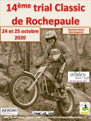 Affiche 14ème Trial Classic de Rochepaule 24 et 25 octobre 2020 - 24/25 October