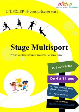 Affiche STAGE MULTISPORT du 6 juillet au 10 juillet 2020 - 6/10 July 2020