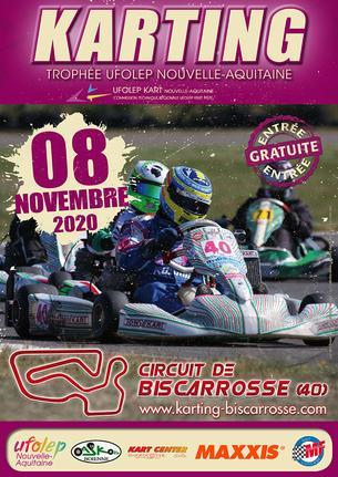 Affiche TROPHÉE UFOLEP KART NOUVELLE AQUITAINE 2020  BISCARROSSE (40) - 8 November