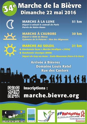 Affiche 34ème Marche de la Bièvre - 22 May 2016