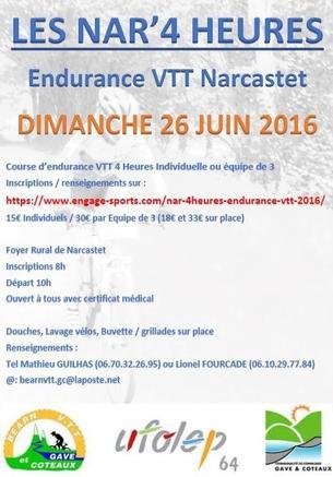 Affiche NAR 4'HEURES Endurance VTT - 26 June 2016