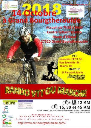 """Affiche RANDONNEE VTT MARCHE LA """"BOUE'TROUDE"""" - 14 October 2018"""
