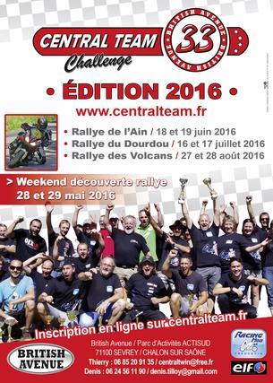 Affiche Challenge Central Team - rallye des Volcans (NOUS CONTACTER) - 27/28 August 2016