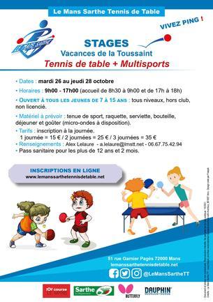 Affiche Stages vacances d'automne - Multisports / Tennis de table - 26/28 October