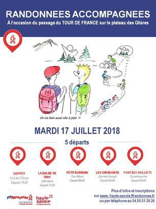 Affiche Randonnées accompagnées aux Glières pour le passage du Tour de France - 17 July 2018