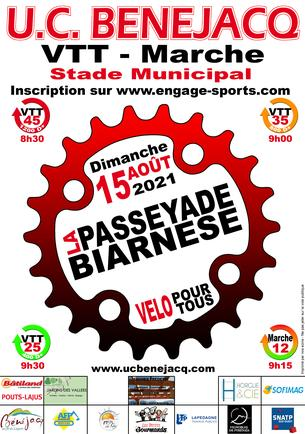 Affiche La Passeyade Biarnèse 2021 - VTT - Marche - 15 August